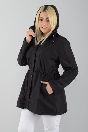 Tuva Tekstil Kadın Siyah Kapüşonlu Astarlı Trençkot 1