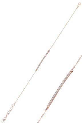 Söğütlü Silver Çubuk Model Zirkon Taşlı Rose Kaplama Gümüş Bileklik Sgtl10092rose 0