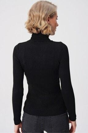 butikburuç Kadın Siyah Balıkçı Yünlü Triko Bluz 4