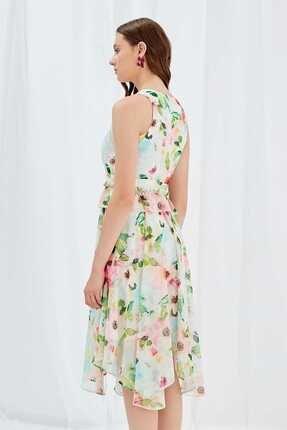 Journey Kadın Pudra Çiçekli Sıfır Yaka Beli Büzgülü Volanlı Altı Asimetrik Kolsuz Uzun Elbise 19YELB221 4