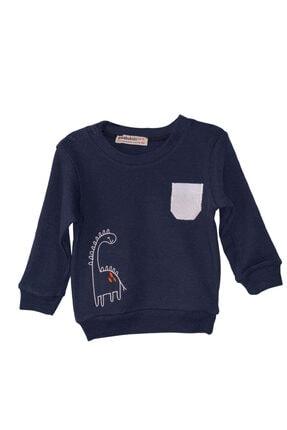 Pikabukids Erkek Çocuk Lacivert Uzun Kollu Petek Kumaş Sweatshirt 0