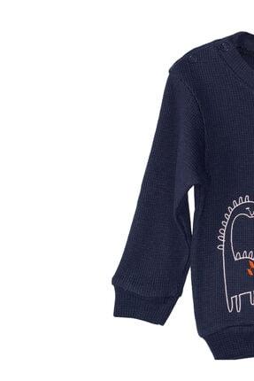 Pikabukids Erkek Çocuk Lacivert Uzun Kollu Petek Kumaş Sweatshirt 1