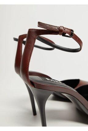 Mango Kadın Bordo Topuklu Deri Ayakkabı 4