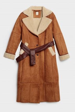 تصویر از Kadın Taba Dikiş Detaylı Uzun Palto