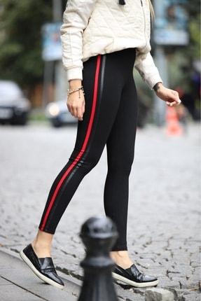 Grenj Fashion Siyah Yanı Kırmızı Ve Deri Biyeli Yüksek Bel Toparlayıcı Tayt 0