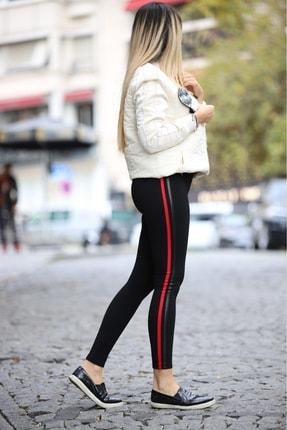 Grenj Fashion Siyah Yanı Kırmızı Ve Deri Biyeli Yüksek Bel Toparlayıcı Tayt 1