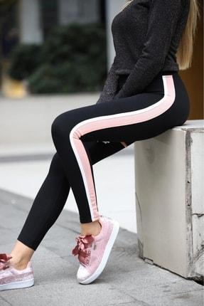 Grenj Fashion Siyah Yanı Pembe Beyaz Şeritli Yüksek Bel Toparlayıcı Tayt 1