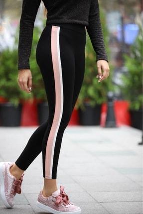 Grenj Fashion Siyah Yanı Pembe Beyaz Şeritli Yüksek Bel Toparlayıcı Tayt 2