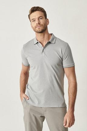 Altınyıldız Classics Erkek Gri Düğmeli Polo Yaka Cepsiz Slim Fit Dar Kesim Düz Tişört 1