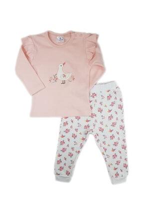 Luggi Baby Kız Bebek Ekru Pembe Omuz Fırfırlı Çiçek Desenli Takım 0