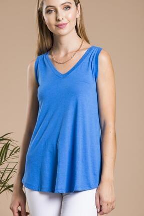 SHIEBA Kadın Mavi V Yaka Bol Kesim Salaş Balon T-shirt 1