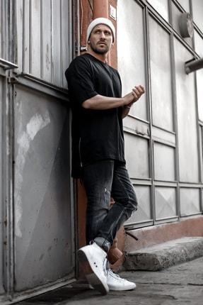 XHAN Erkek Siyah Fermuar Detaylı T-shirt 1kxe1-44339-02 0
