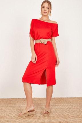 Kadın Kırmızı Omuz Dekolteli Elbise L19Y760354YK