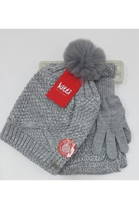 تصویر از Gri Içi Polar Şapka Atkı Ve Eldiven Seti
