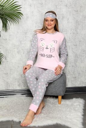 Manolya Kadın Toz Pembe Kışlık Uzun Kollu Peluş Polar Pijama Takımı 1