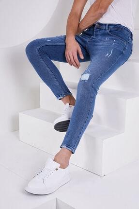 Jenalli Erkek Düz Eskitme Mavi Dar Paça Likralı Skinny Fit Jean 0