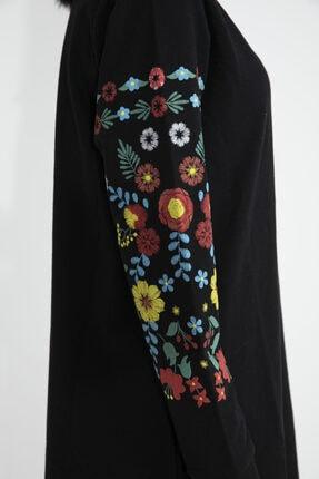 VAPUR TEKSTİL Kadın Siyah Kolları Çiçek Detaylı Tunik 4