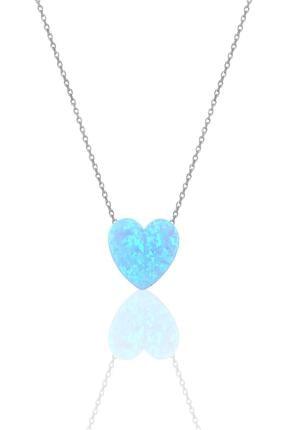 Söğütlü Silver Gümüş Rodyumlu Opal Taşlı Kalp Kolye 0