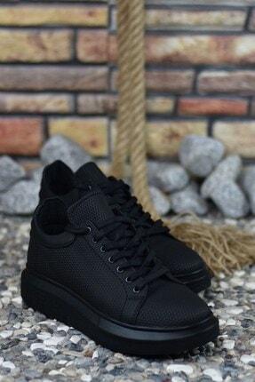 Riccon 3D Baskılı Siyah Siyah Erkek Sneaker 4