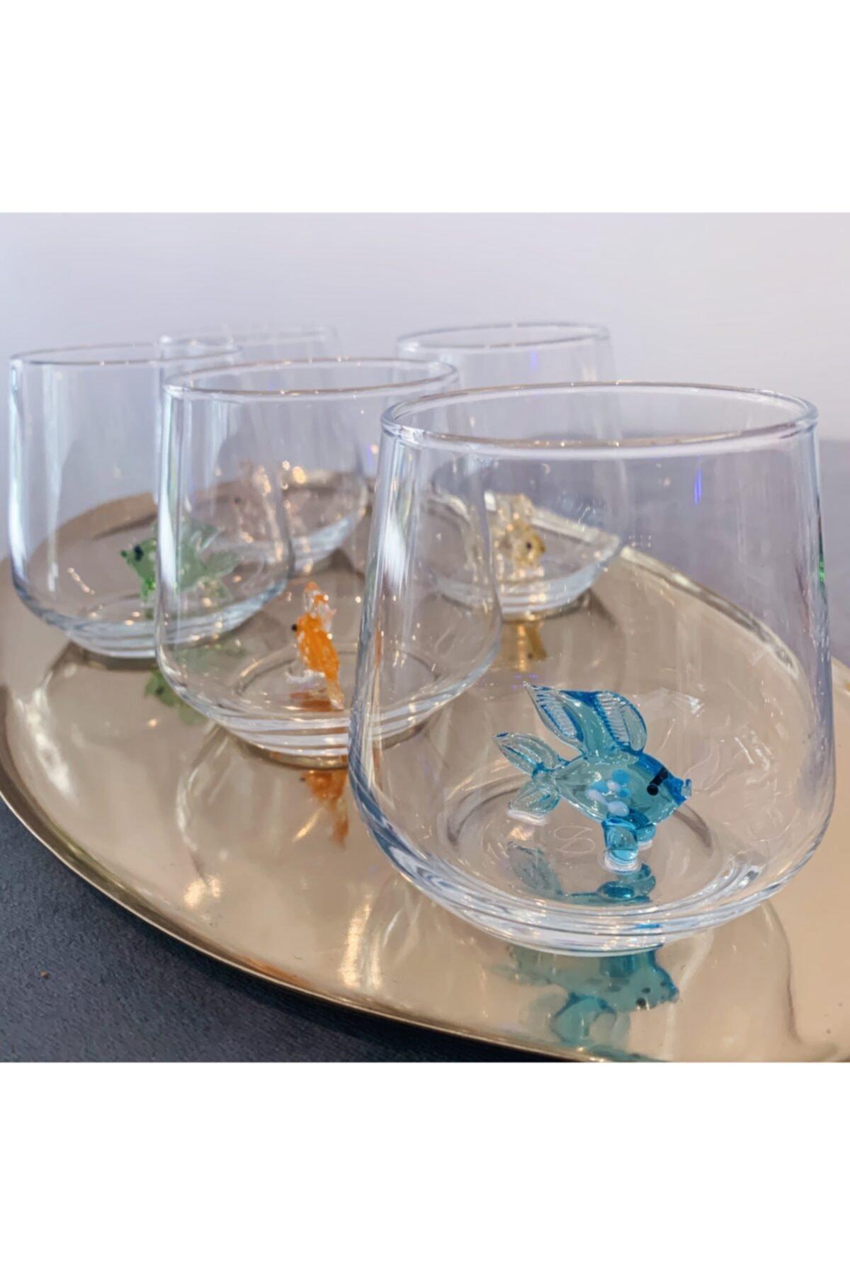 El Yapımı Cam Balıklı 6'lı Su Bardağı Seti