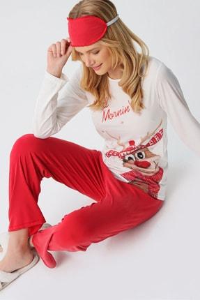 Trend Alaçatı Stili Kadın Beyaz Uyku Bantlı Bisiklet Yaka Yılbaşı Geyik Baskılı Pijama Takım ALC-X5319 2
