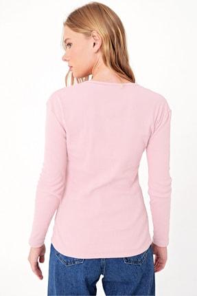 Trend Alaçatı Stili Kadın Toz Pembe Çıtçıtlı Kaşkorse Bluz MDS-345-BLZ 1