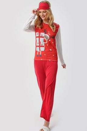Trend Alaçatı Stili Kadın Kırmızı Uyku Bantlı Bisiklet Yaka Yılbaşı Geyik Baskılı Pijama Takım ALC-X5318 3