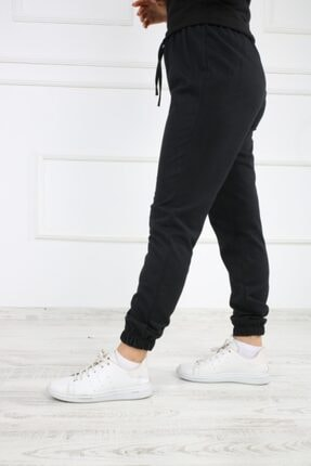 SHOPPİNG GO Kadın Siyah Lastikli Eşofman Altı 1