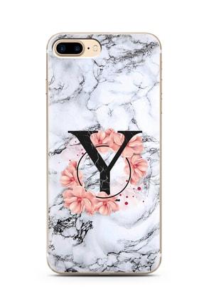 Spoyi Beyaz Mermer Çiçekli Harf Tasarım Süper Şeffaf Silikon Telefon Kılıfı Iphone 7 Plus Y-harfi 0