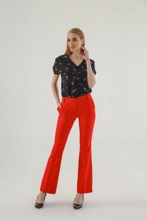 Jument Kalın Kemerli Cepli Ispanyol Bol Paça Likralı Kumaş Pantolon-kırmızı 0