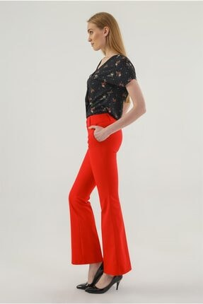 Jument Kalın Kemerli Cepli Ispanyol Bol Paça Likralı Kumaş Pantolon-kırmızı 1