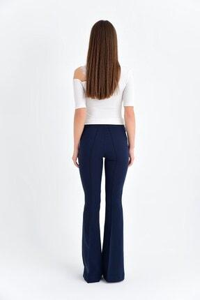 Jument Kadın Lacivert Yüksek Bel Önü Arka Dikişli İspanyol Pantolon 2