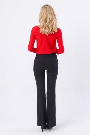 Jument Kadın Kalın Kemerli Cepli Ispanyol Bol Paça Likralı Kumaş Pantolon-siyah 2