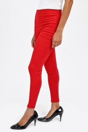Jument Kadın Kırmızı Ön Arka Dikişli Dar Paça Tayt Pantolon 40004 2