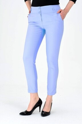 Jument Normal Bel Cepli Bilek Boy Ofis Likralı Kumaş Pantolona.mavi 3