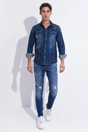Erkek Mavi Dar Paça Slim Fit Kot Pantolon 3std02078-003 3STD02078-003