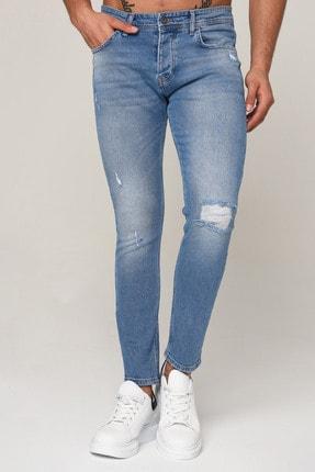 Erkek Mavi Yırtık Dar Paça Slim Fit Kot Pantolon 3std02062-003 3STD02062-003