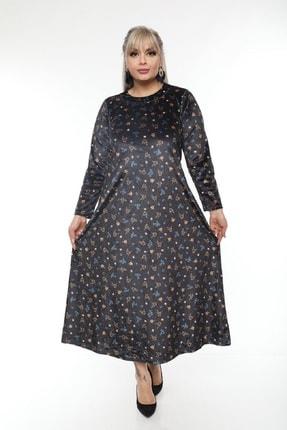 Şirin Butik Büyük Beden Yaka Pervazlı Kadife Elbise 1