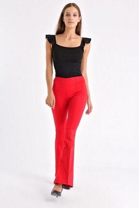 Jument Kadın Kırmızı Ön Arka Dikişli Ispanyol Paça Tayt Pantolon 1