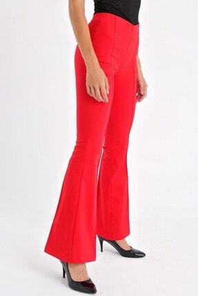 Jument Kadın Kırmızı Ön Arka Dikişli Ispanyol Paça Tayt Pantolon 4