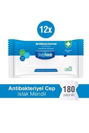 Deep Fresh Antibakteriyel Islak Cep Mendili 12'li Paket 180 Yaprak 0