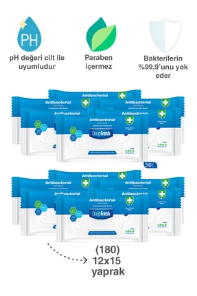 Deep Fresh Antibakteriyel Islak Cep Mendili 12'li Paket 180 Yaprak 2