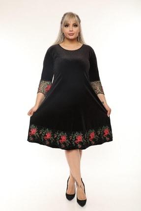 Şirin Butik Kadın Siyah Büyük Beden Çiçek Detaylı Kadife Elbise 1