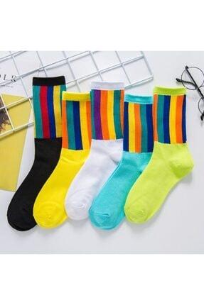 BGK 5'li Unisex Renkli Kolej Çorap (Antibakteriyel Extra Soft) 0