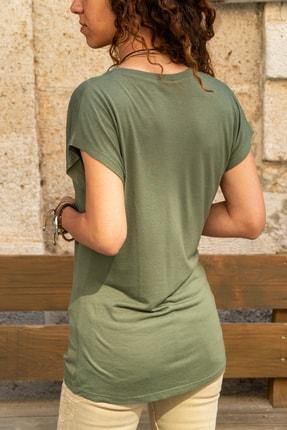 Güneşkızı Kadın Haki V Yaka Yarasa Kol Basic T-shirt Gk-jr211 1