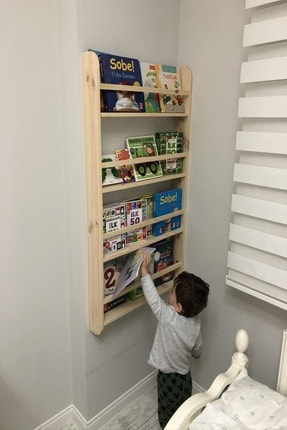 Karaköse Ahşap Montessori Kitaplık Çocuk Odası Eğitici Kitaplık Ahşap Bebek Çocuk Odası Montessori Ahşap Duvar Rafı 1