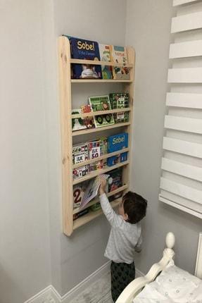 Karaköse Ahşap Montessori Kitaplık Çocuk Odası Eğitici Kitaplık Ahşap Bebek Çocuk Odası Montessori Ahşap Duvar Rafı 3