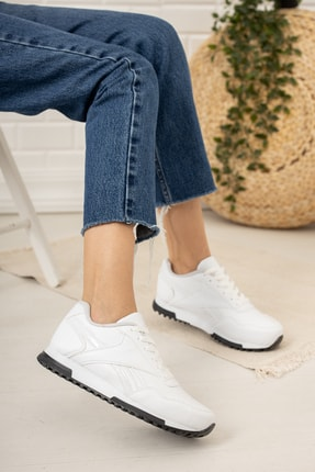 Moda Değirmeni Kadın Beyaz Siyah Tabanlı Sneaker Md1053-101-0001 1