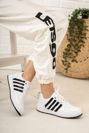 Moda Değirmeni Kadın Beyaz Siyah Sneaker Md1053-101-0002 2