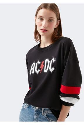 Picture of Ac Dc Baskılı Siyah Sweatshirt